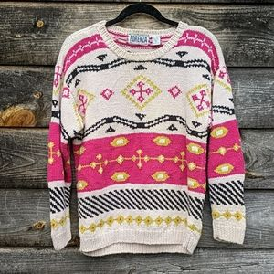 Vintage Forenza Chunky Funky Knit Sweater 1980s